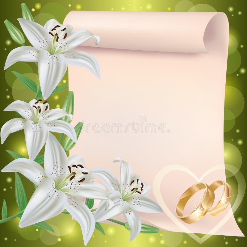 Cartolina d'auguri dell'invito o di cerimonia nuziale con il giglio illustrazione vettoriale
