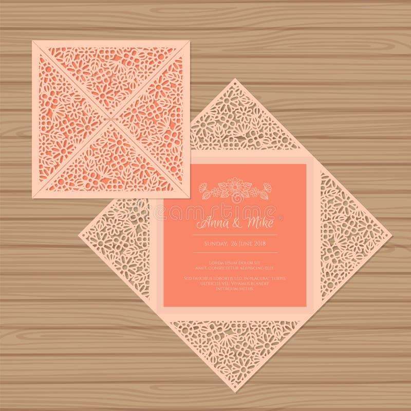 Cartolina d'auguri dell'invito o di nozze con l'ornamento del fiore illustrazione di stock