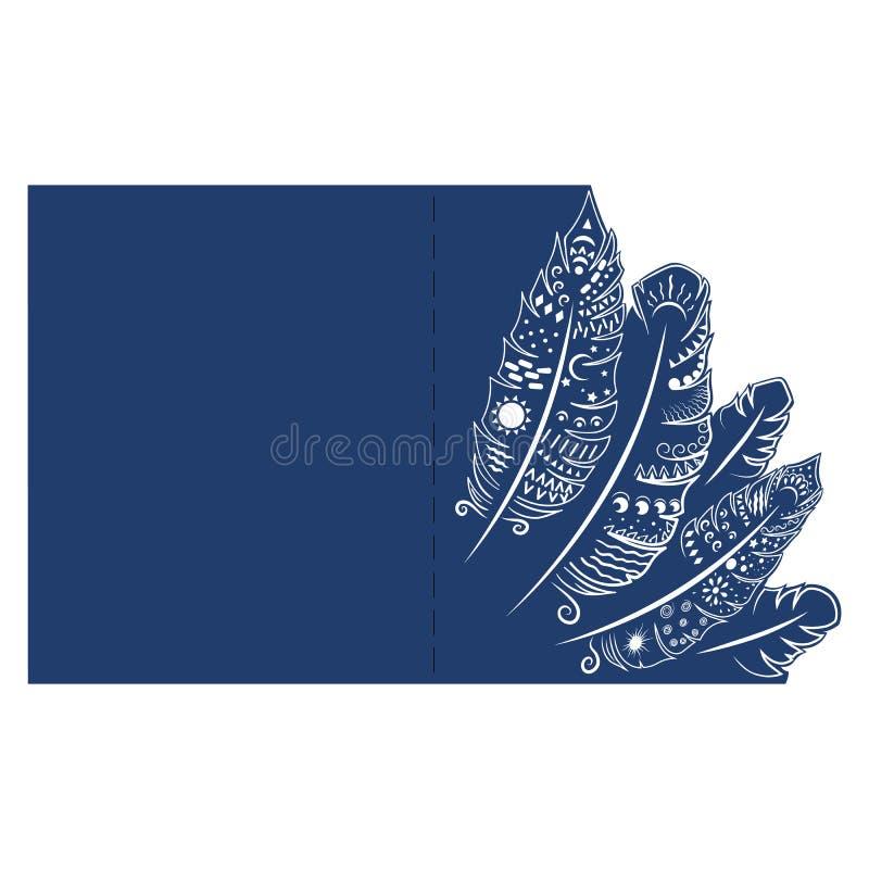 Cartolina d'auguri dell'invito o di nozze con la piuma Derisione della busta su per il taglio del laser royalty illustrazione gratis