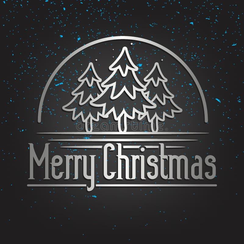 Cartolina d'auguri dell'iscrizione dell'oro di Buon Natale illustrazione di stock