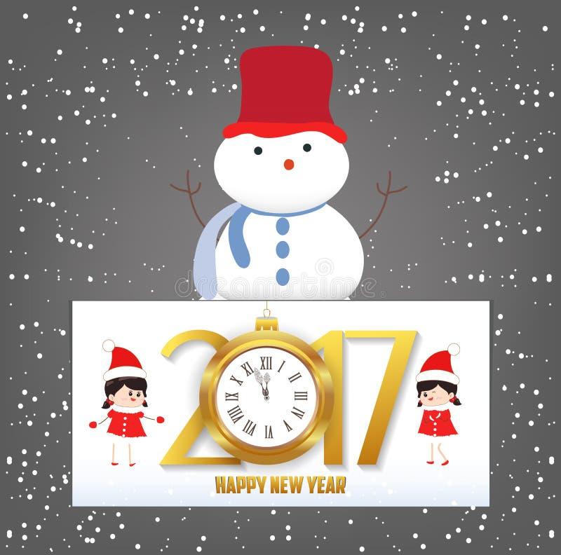 Cartolina d'auguri dell'orologio del buon anno e di Buon Natale 2017 illustrazione di stock