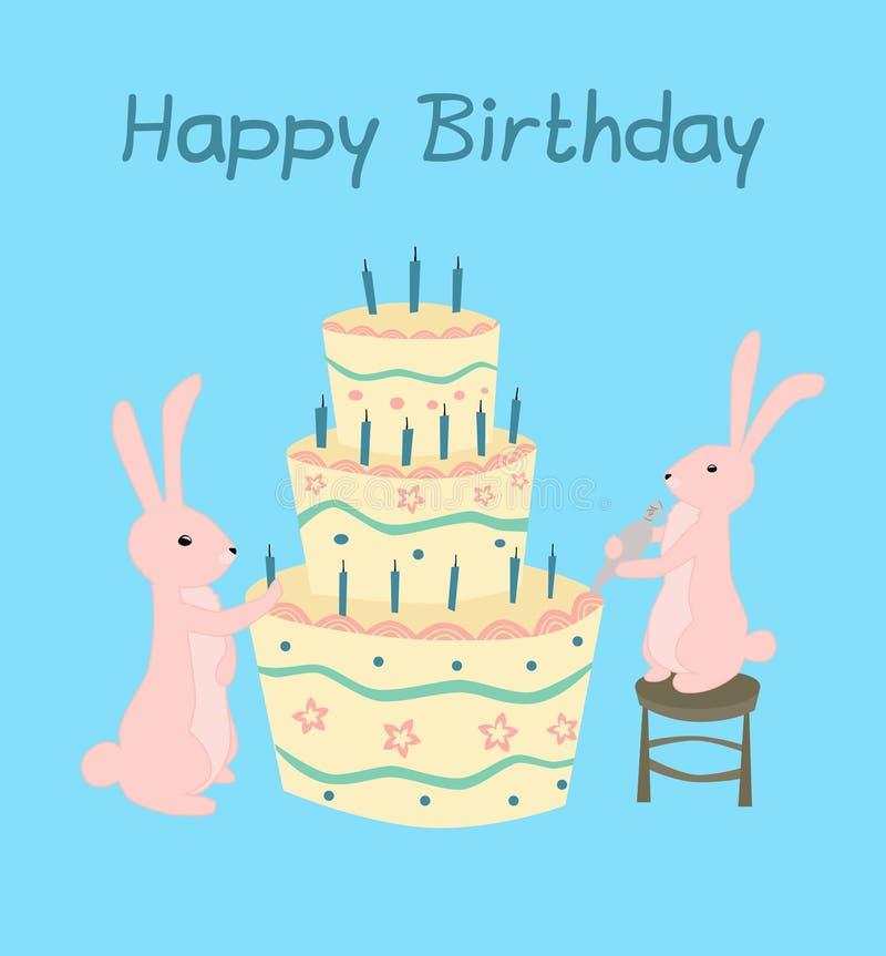 Cartolina d'auguri della torta di compleanno fotografia stock
