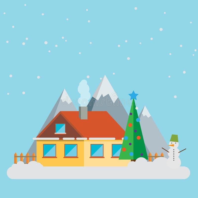 Cartolina d'auguri delle icone degli accessori di Natale del paesaggio del nuovo anno Ele illustrazione di stock