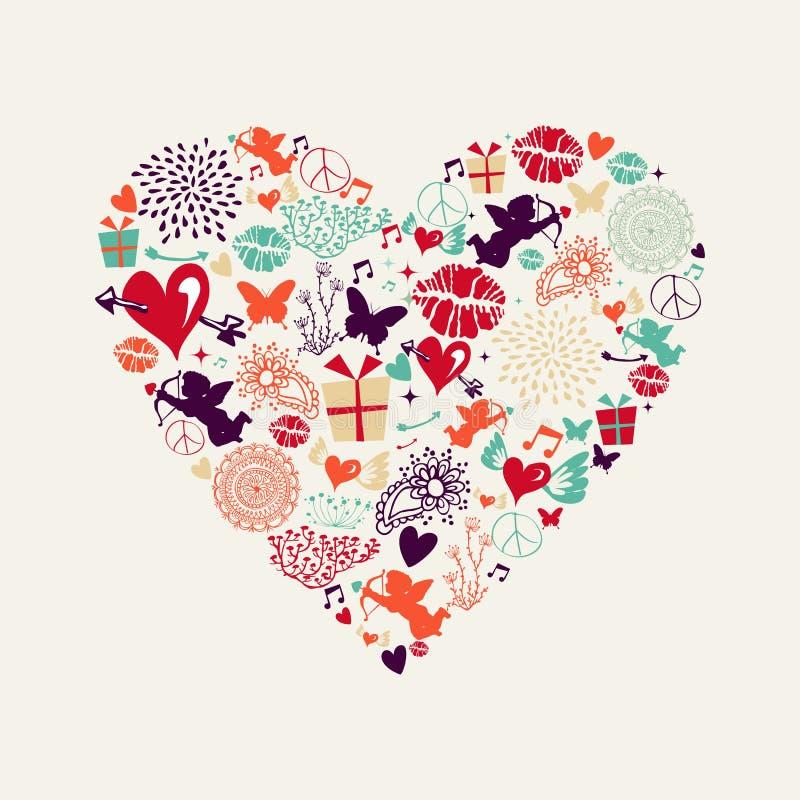 Cartolina d'auguri di amore del cuore di giorno del ` s del biglietto di S. Valentino royalty illustrazione gratis