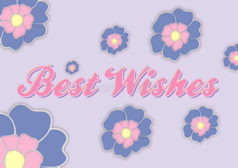 Cartolina d'auguri di auguri con i fiori fotografie stock