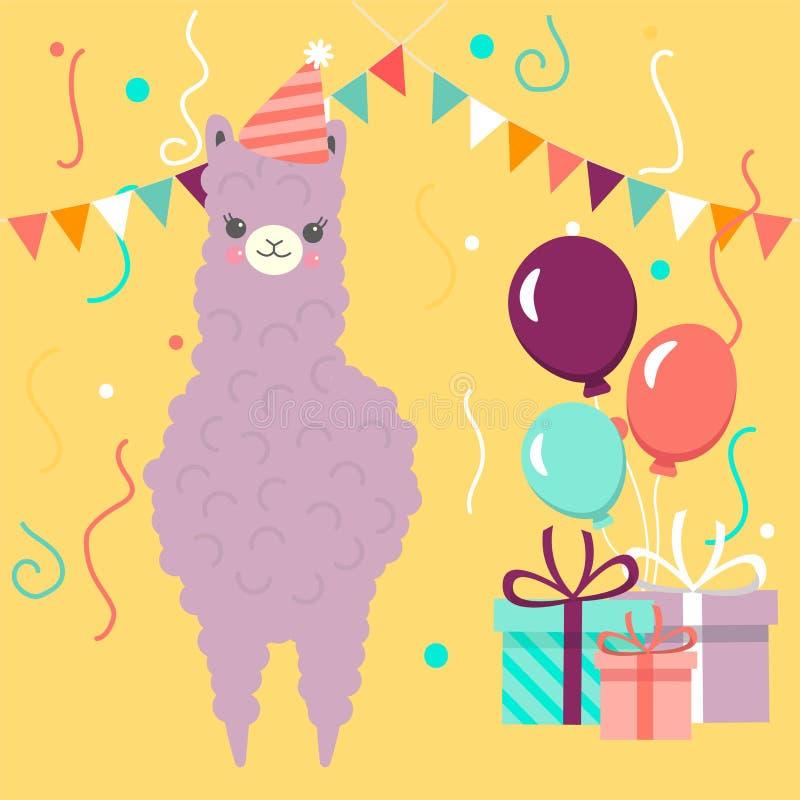 Cartolina d'auguri di buon compleanno con il lama o l'alpaga porpora sveglio Illustrazione di vettore per il manifesto, carta, te illustrazione vettoriale