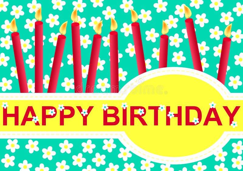 Cartolina d'auguri di buon compleanno con le candele illustrazione vettoriale