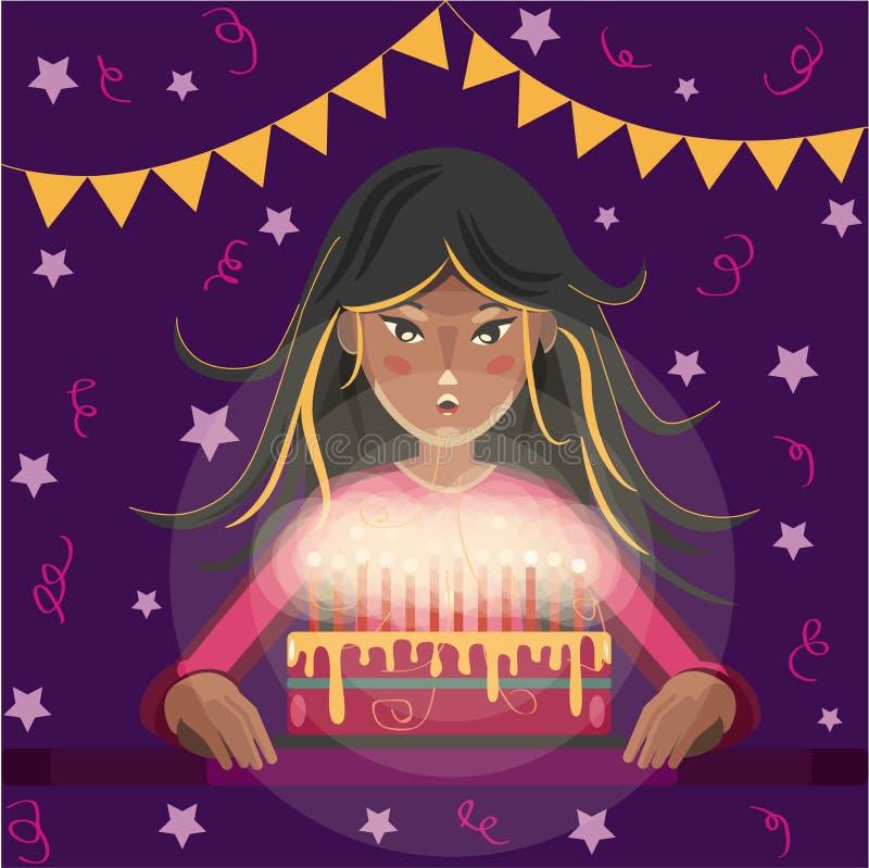 Cartolina d'auguri di buon compleanno La ragazza del fumetto con capelli lunghi spegne le candele sul dolce illustrazione di stock