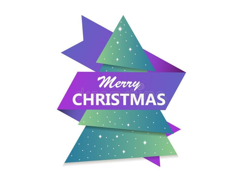Cartolina d'auguri di Buon Natale Albero di Natale con il nastro Albero di abete di carta Vettore illustrazione vettoriale