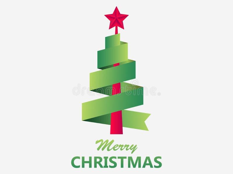 Cartolina d'auguri di Buon Natale Albero di Natale dal nastro con la stella rossa Verde di colore di pendenza Vettore royalty illustrazione gratis