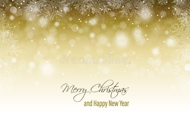 Cartolina d'auguri di Buon Natale Bandiera di nuovo anno felice Paesaggio di inverno con fondo, le precipitazioni nevose ed i fio illustrazione di stock