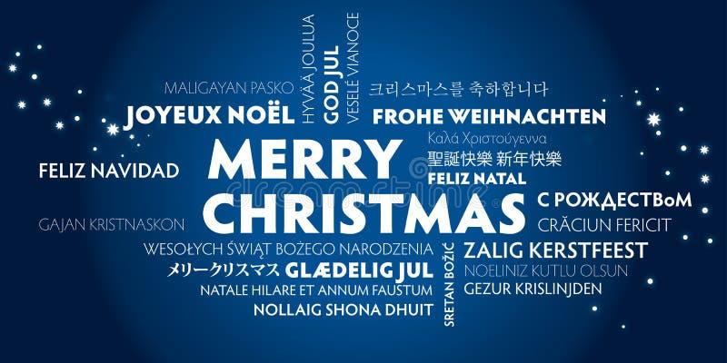 Cartolina d'auguri di Buon Natale - blu illustrazione di stock