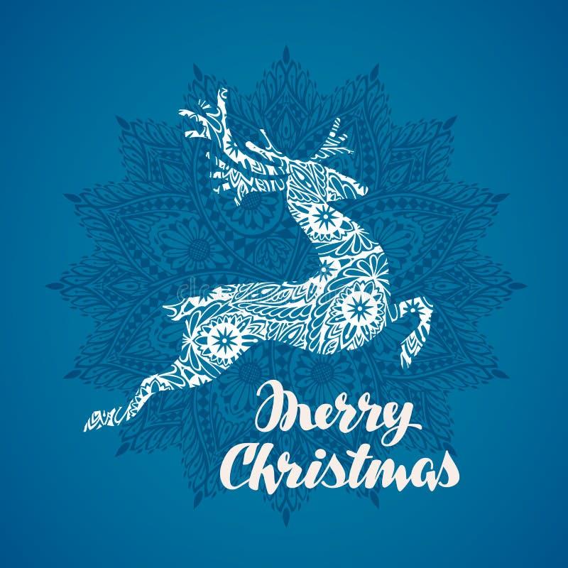 Cartolina d'auguri di Buon Natale Cervi di volo della siluetta nello stile decorativo Illustrazione di vettore illustrazione vettoriale