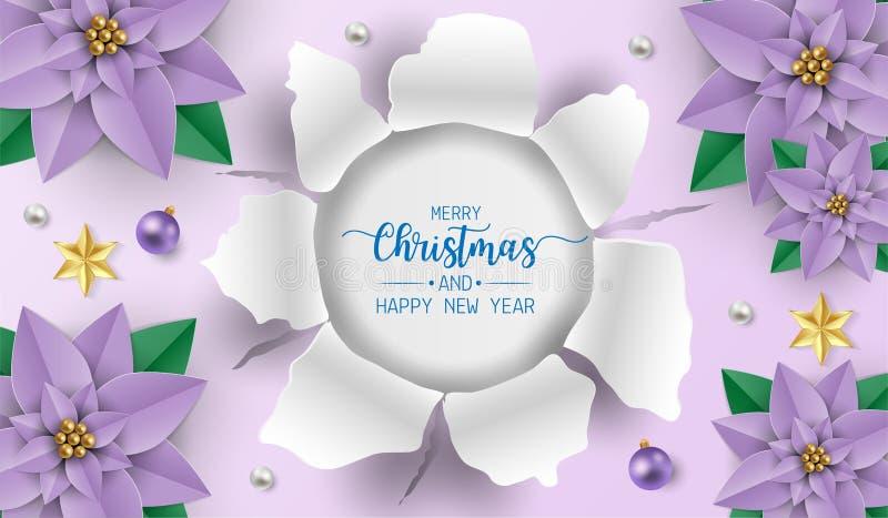 Cartolina d'auguri di Buon Natale con le palle bianche e porpora porpora dei fiori della stella di Natale, su fondo porpora Illus illustrazione di stock