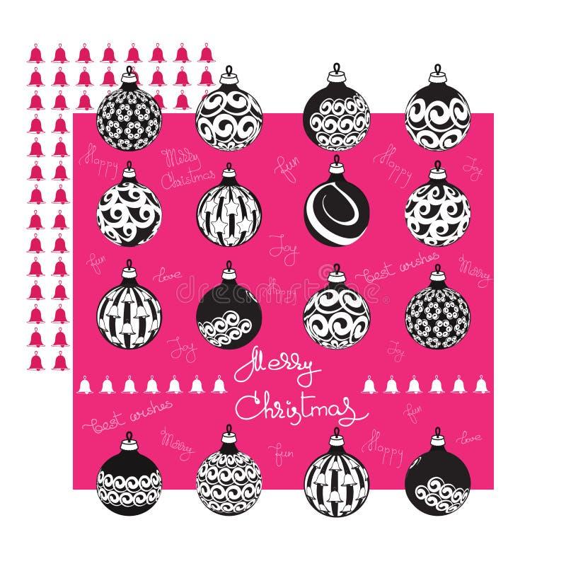 Cartolina d'auguri di Buon Natale con le palle e le parole scritte a mano illustrazione di stock