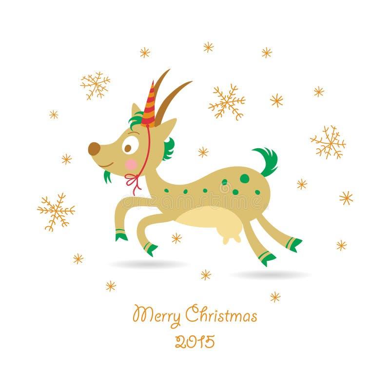 Cartolina d'auguri di Buon Natale con una capra royalty illustrazione gratis