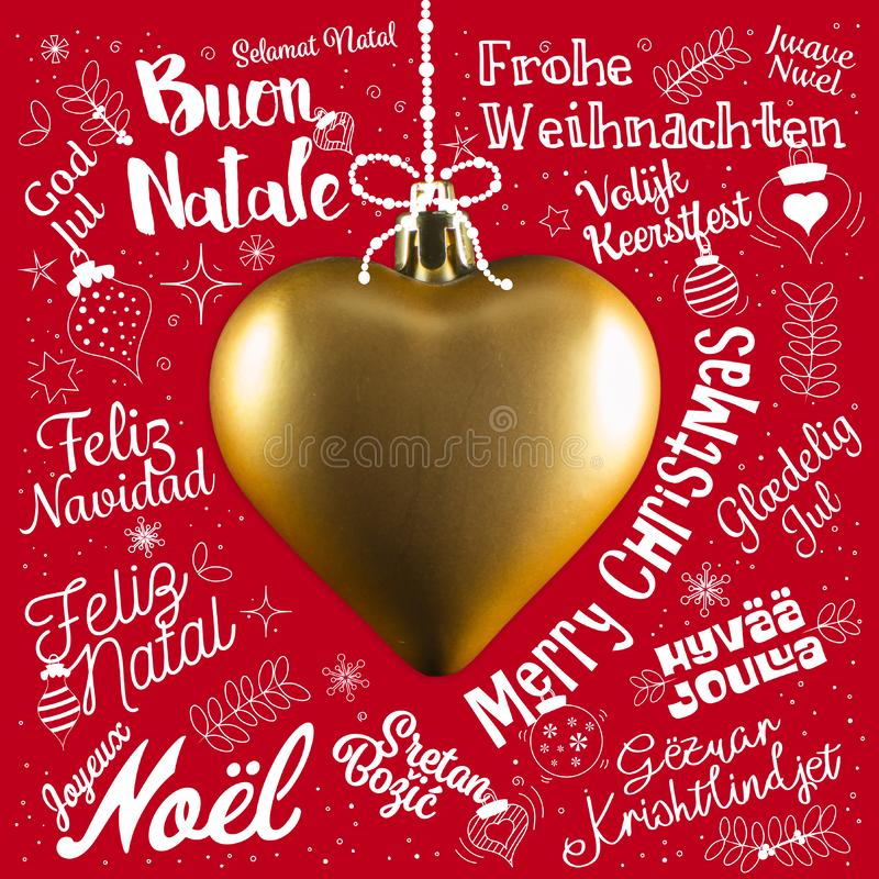 Cartolina d'auguri di Buon Natale dal mondo nelle lingue differenti fotografie stock libere da diritti