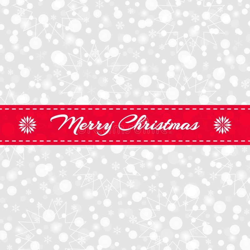 Cartolina d'auguri di Buon Natale Fiocchi di neve, modello di stelle con il nastro rosso Fondo della neve di vettore royalty illustrazione gratis