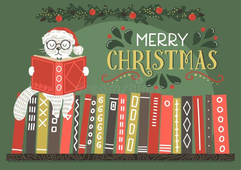 Cartolina d'auguri di Buon Natale Gatto di fantasia in libro di lettura del cappello di Natale royalty illustrazione gratis