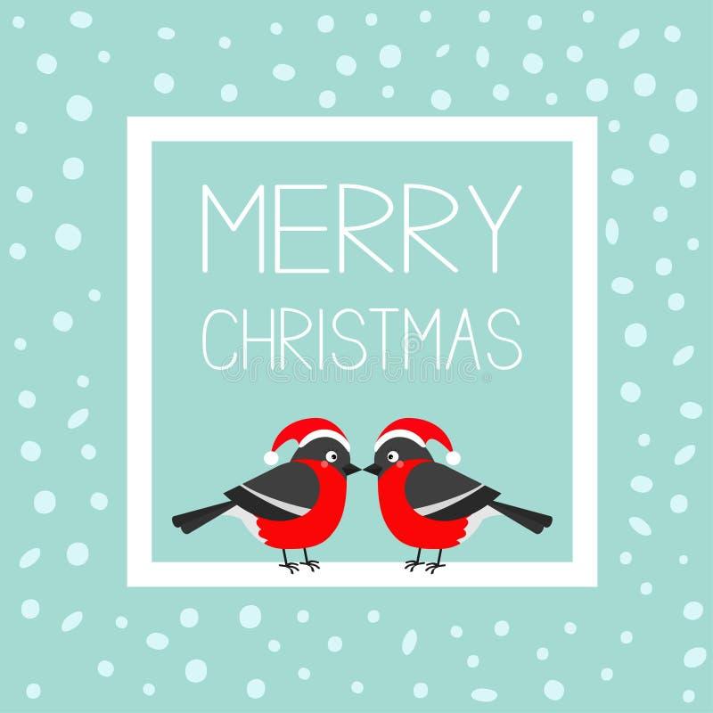 Cartolina d'auguri di Buon Natale Insieme rosso dell'uccello della piuma di inverno del ciuffolotto Santa Hat Struttura del quadr illustrazione di stock