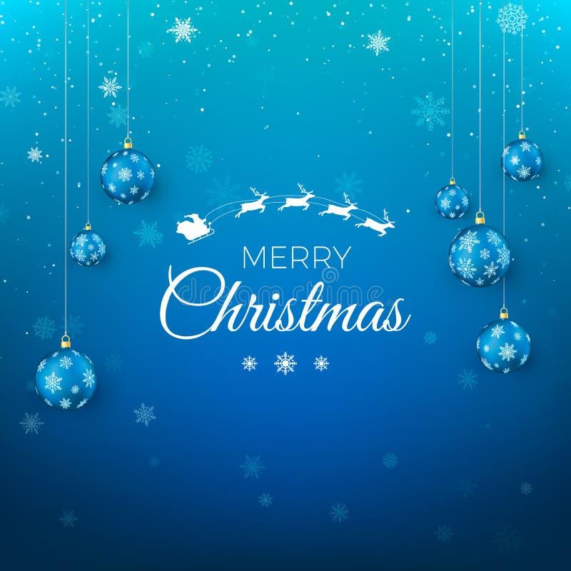 Cartolina d'auguri di Buon Natale Mosca di Santa Claus in cielo e testo accogliere Fondo blu con i fiocchi di neve decorati dalle royalty illustrazione gratis