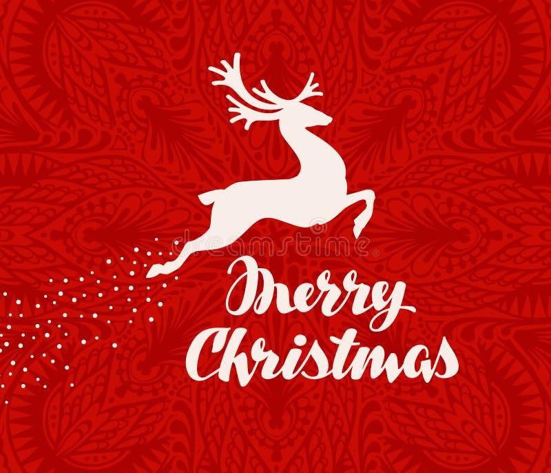 Cartolina d'auguri di Buon Natale Siluetta dei cervi di volo Illustrazione di vettore illustrazione di stock