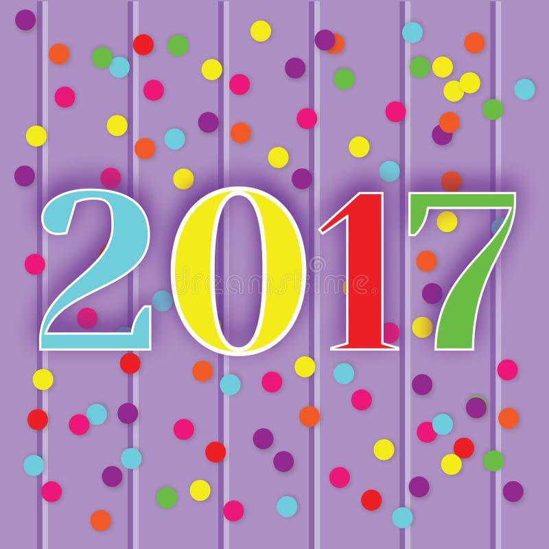 cartolina d'auguri di celebrazione di 2017 nuovi anni, insegna, illustrazione di vettore royalty illustrazione gratis