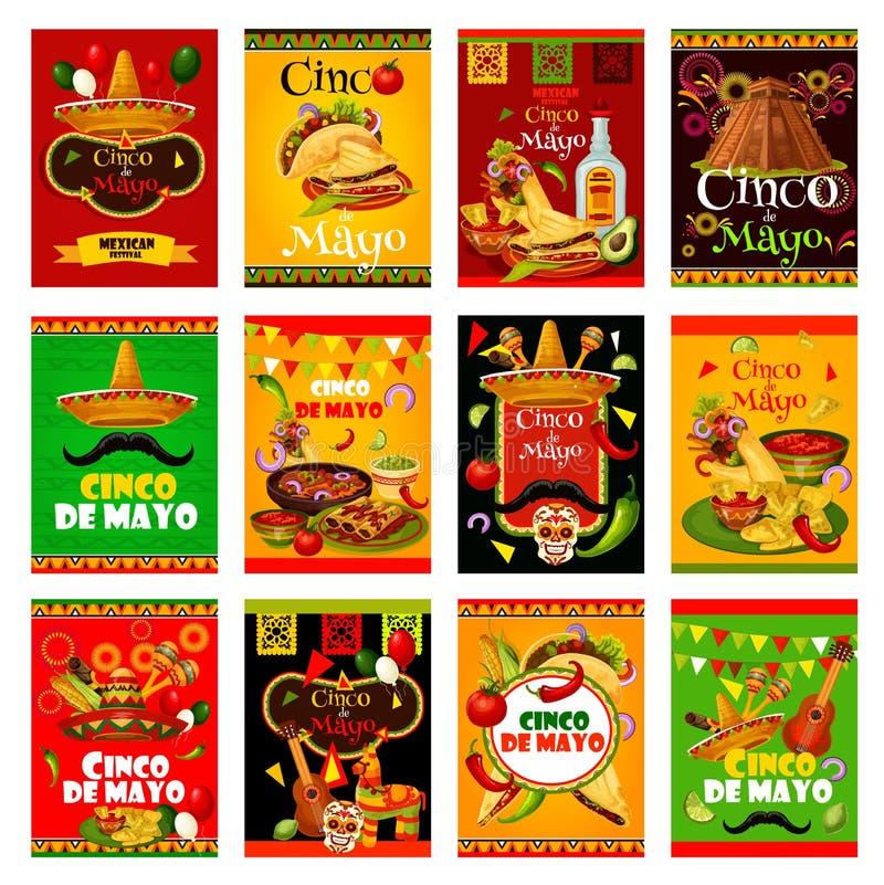 Cartolina d'auguri di Cinco de Mayo per il festival messicano illustrazione di stock