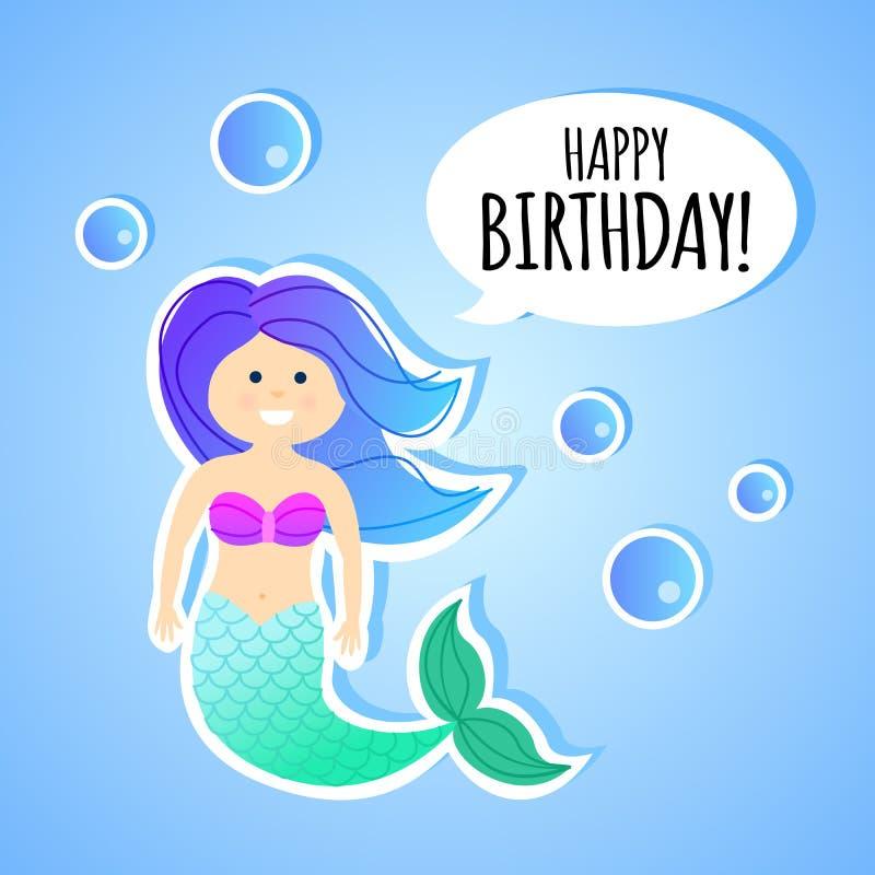 Cartolina d'auguri di compleanno con la sirena per i bambini illustrazione di stock