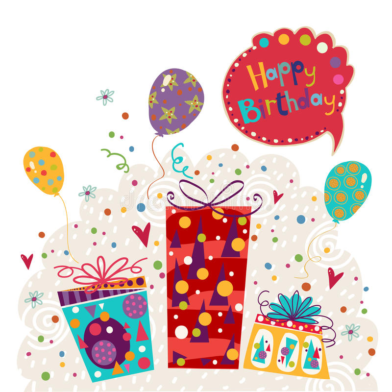 Cartolina d'auguri di compleanno fatta dei regali, palloni Invito di compleanno Festa di compleanno Cartolina d'auguri con i pall illustrazione di stock