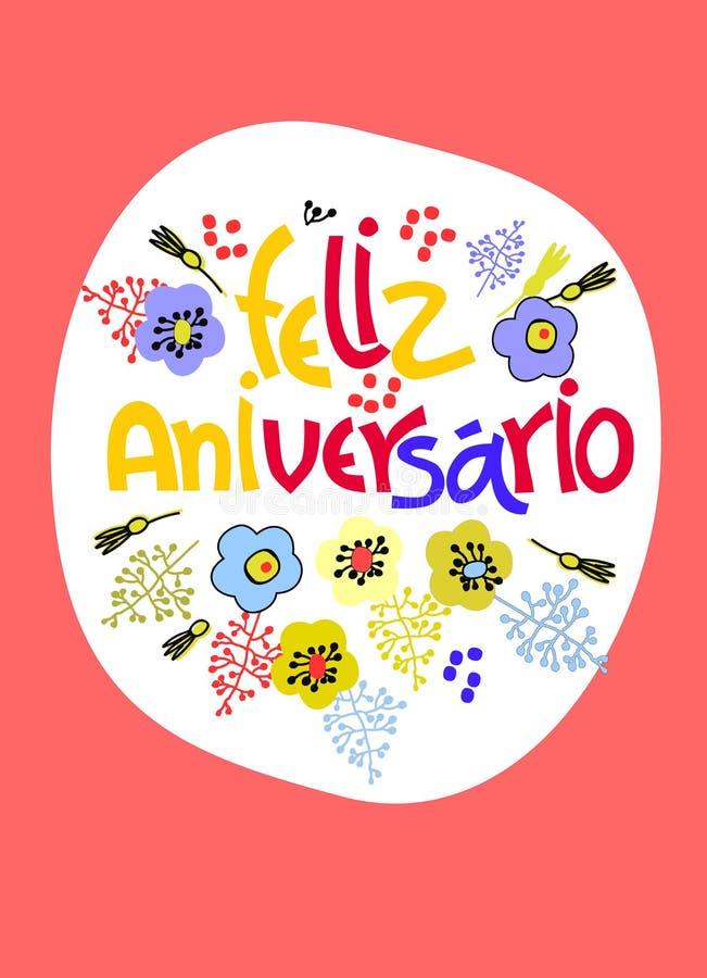Cartolina d'auguri di compleanno in portoghese Il testo dice il buon compleanno Iscrizione della mano con la decorazione floreale illustrazione vettoriale