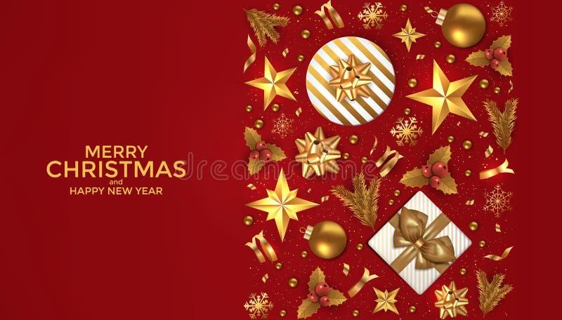 Cartolina d'auguri di desi del fondo del buon anno e di Buon Natale Illustrazione di vettore illustrazione vettoriale