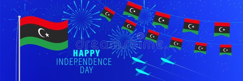 Cartolina d'auguridi festa dell'indipendenza dicembre 24 di Libia Fondo di celebrazione con i fuochi d'artificio, le bandiere, l illustrazione di stock