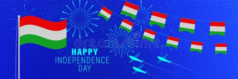 Cartolina d'auguri di festa dell'indipendenza dell'Ungheria del mercato 15 Fondo di celebrazione con i fuochi d'artificio, le ban illustrazione di stock