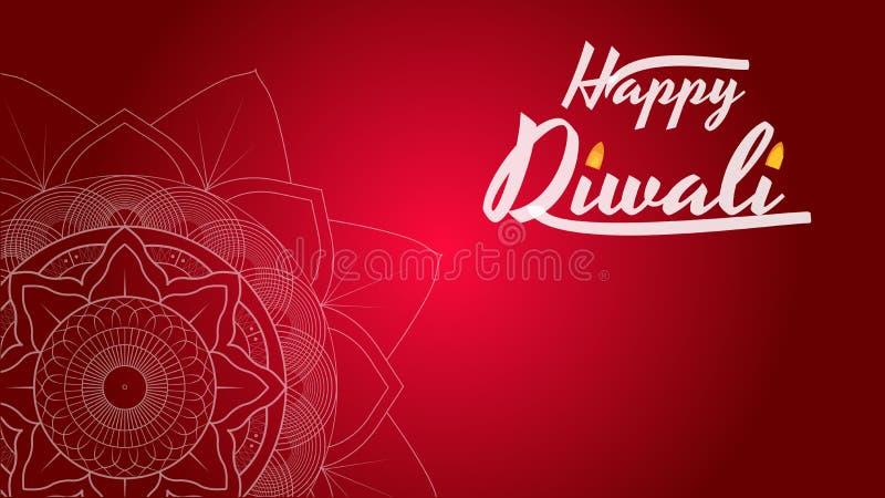 Cartolina d'auguri di festival di Diwali, aletta di filatoio, modello del fondo con la mandala illustrazione vettoriale