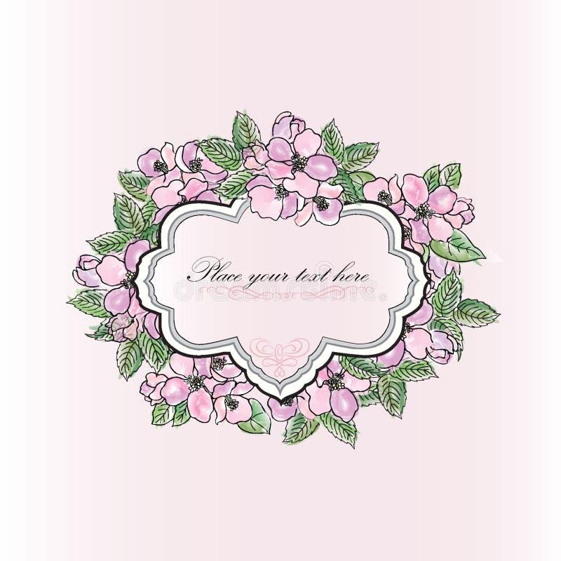Cartolina d'auguri di fioritura delicata dei fiori di melo della molla floreale illustrazione vettoriale