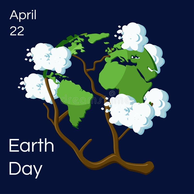 Cartolina d'auguri di giornata per la Terra Globo della terra del fumetto indicato come albero con le foglie come i continenti e  illustrazione vettoriale