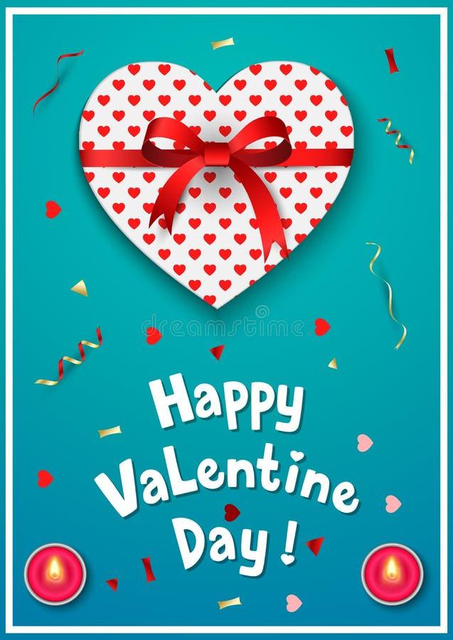 Cartolina d'auguri di giorno di biglietti di S. Valentino con il contenitore di regalo e l'arco rosso royalty illustrazione gratis