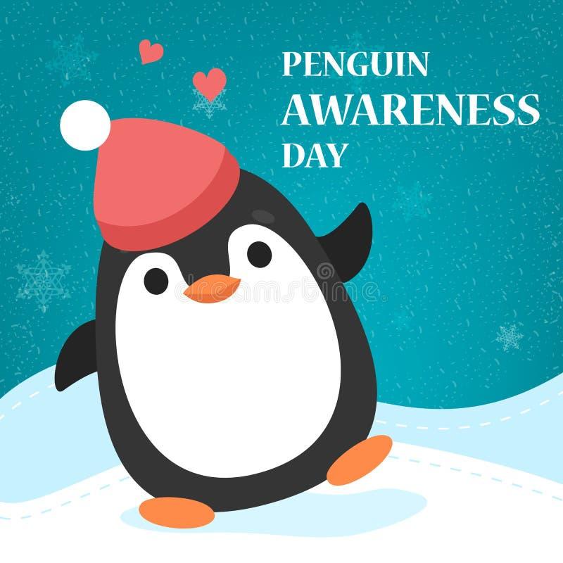 Cartolina d'auguri di giorno di consapevolezza del pinguino Equilibratura animale illustrazione di stock