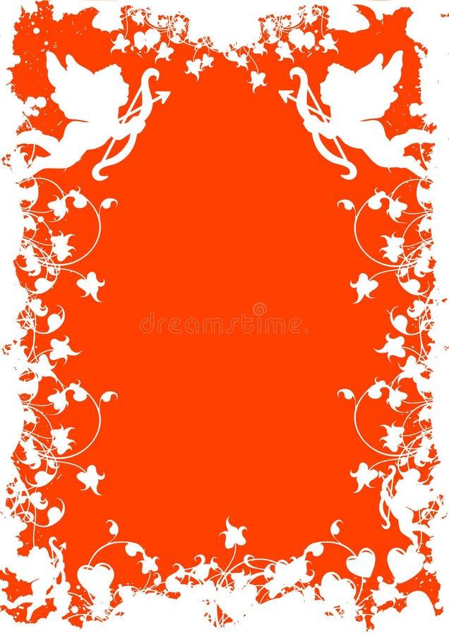 Cartolina d'auguri di giorno del biglietto di S. Valentino con il cuore dei fiori sul backg del grunge illustrazione di stock
