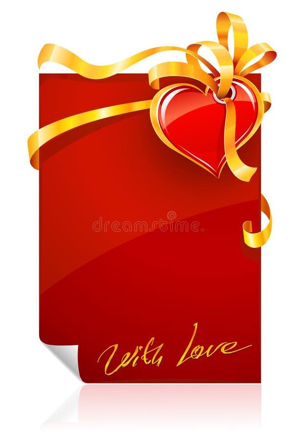 Cartolina d'auguri di giorno del biglietto di S. Valentino rosso con cuore royalty illustrazione gratis