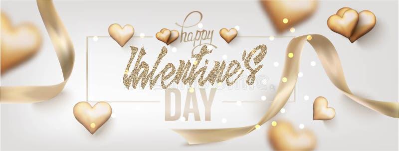 Cartolina d'auguri di giorno del ` s del biglietto di S. Valentino con i cuori ed i nastri dell'oro illustrazione vettoriale