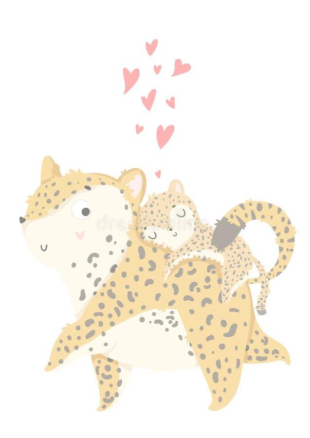 Cartolina d'auguri di giorno del ` s di Mather Carta sveglia con il leopardo della madre con il suo bambino royalty illustrazione gratis