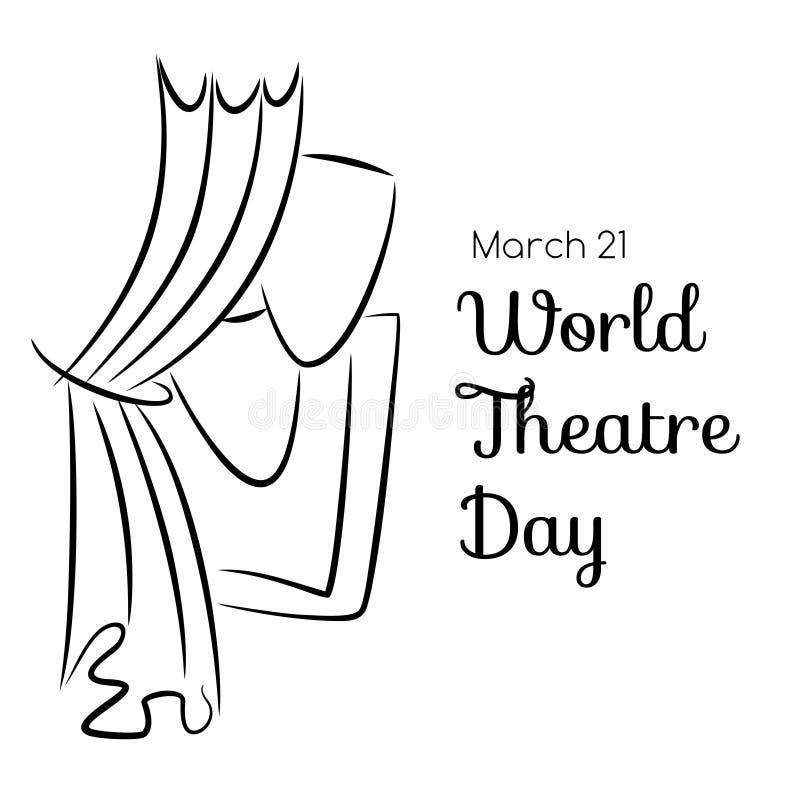 Cartolina d'auguri di giorno del teatro del mondo con le tende e le maschere illustrazione di stock