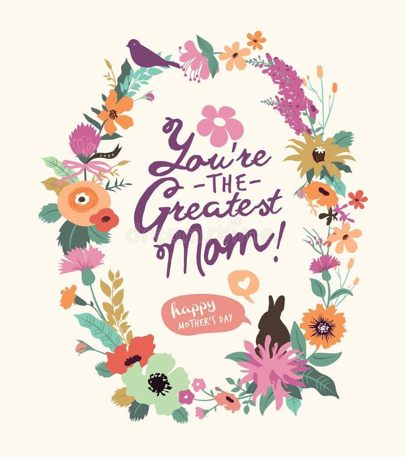 Cartolina d'auguri di giorno della madre illustrazione di stock