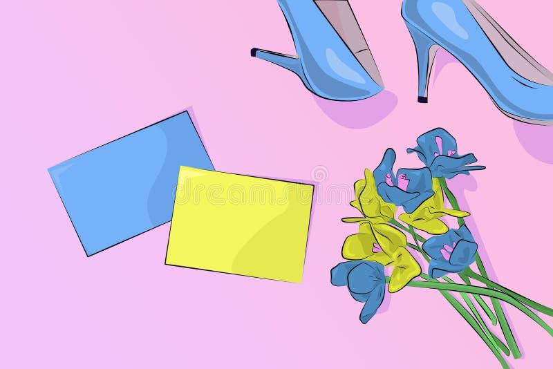 Cartolina d'auguri di giorno delle donne con i fiori ed i tacchi alti su pinkbackground Il vostro testo qui illustrazione di stock