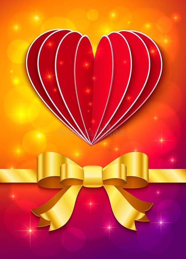Cartolina d'auguri di giorno di biglietti di S. Valentino con cuore ed il nastro illustrazione vettoriale