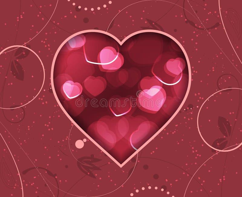 Cartolina d'auguri di giorno di biglietti di S. Valentino con i cuori confusi rossi ed il modello floreale royalty illustrazione gratis