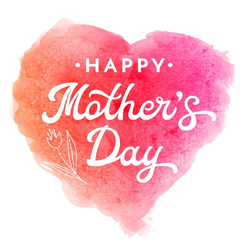 Cartolina d'auguri di giorno di madre con il fiore e l'iscrizione illustrazione di stock