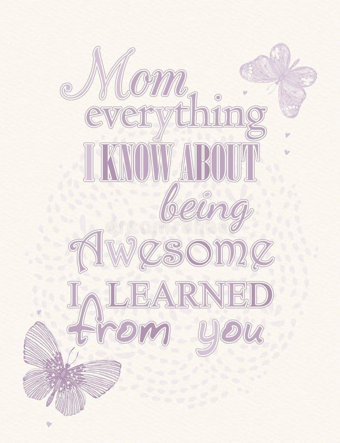 Cartolina d'auguri di giorno di madre con le farfalle delicate illustrazione vettoriale